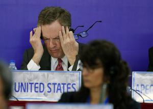 U.S. Trade Representative Robert Lighthizer gestures while attending a joint press conference held on the sideline of the Asia-Pacific Economic Cooperation ( APEC) 's 23rd Ministers responsible for Trade Meeting being held in Hanoi